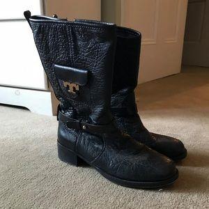 """Leona"" Black Leather Mid Calf Logo Boots"